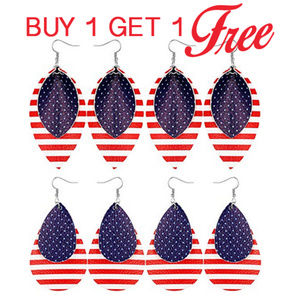 Jewelry - Patriotic Faux Leather Earrings